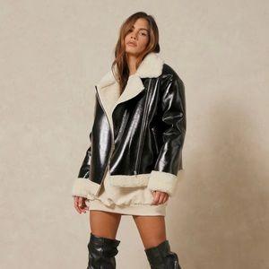 New aviator sherpa faux leather jacket